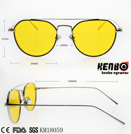 Fashion Design Frame Metal Sunglasses with Double Bridges Km18059