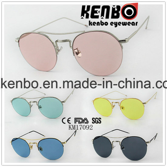 Half Rim with Metal Eyebar Fitted in fashion Colourfull Lens Sunglasses Km17092 New Design