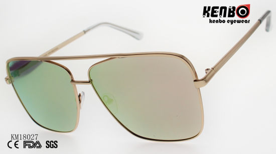 Large Square Frame Metal Sunglasses with Double Bridges and Ocean Lens Km18027