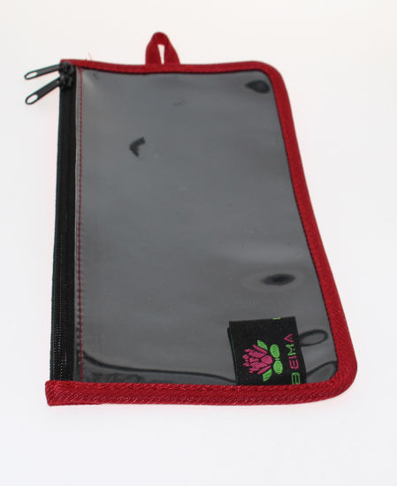 Pouch with One Transparent Side and Flower Pattern
