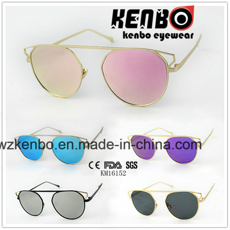 Hot Sale Metal Sunglasses Oversize Eyebrow Without Nose Bridge Km16152 Colourfull Lens