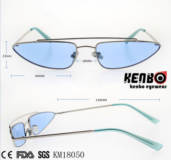 Fashion Design Cateye Metal Sunglasses with Small Triangle Frame Km18050