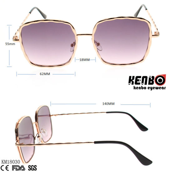 Trendy Design Frame Metal Sunglasses with Nice Temples for Accessory and Ocean Lens Km18030