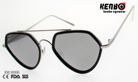 Fashion Metal Polygonal Sunglasses with Double Bridges and PC Rim Km18006